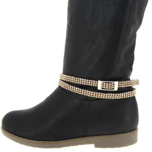 Paire de bijoux de bottes deux tours TANINA Noir (Doré, Blanc) - 9632-37082