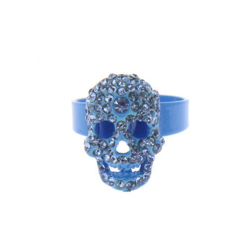 Bague fantaisie, tête de mort strass Bleu - 2177-37373