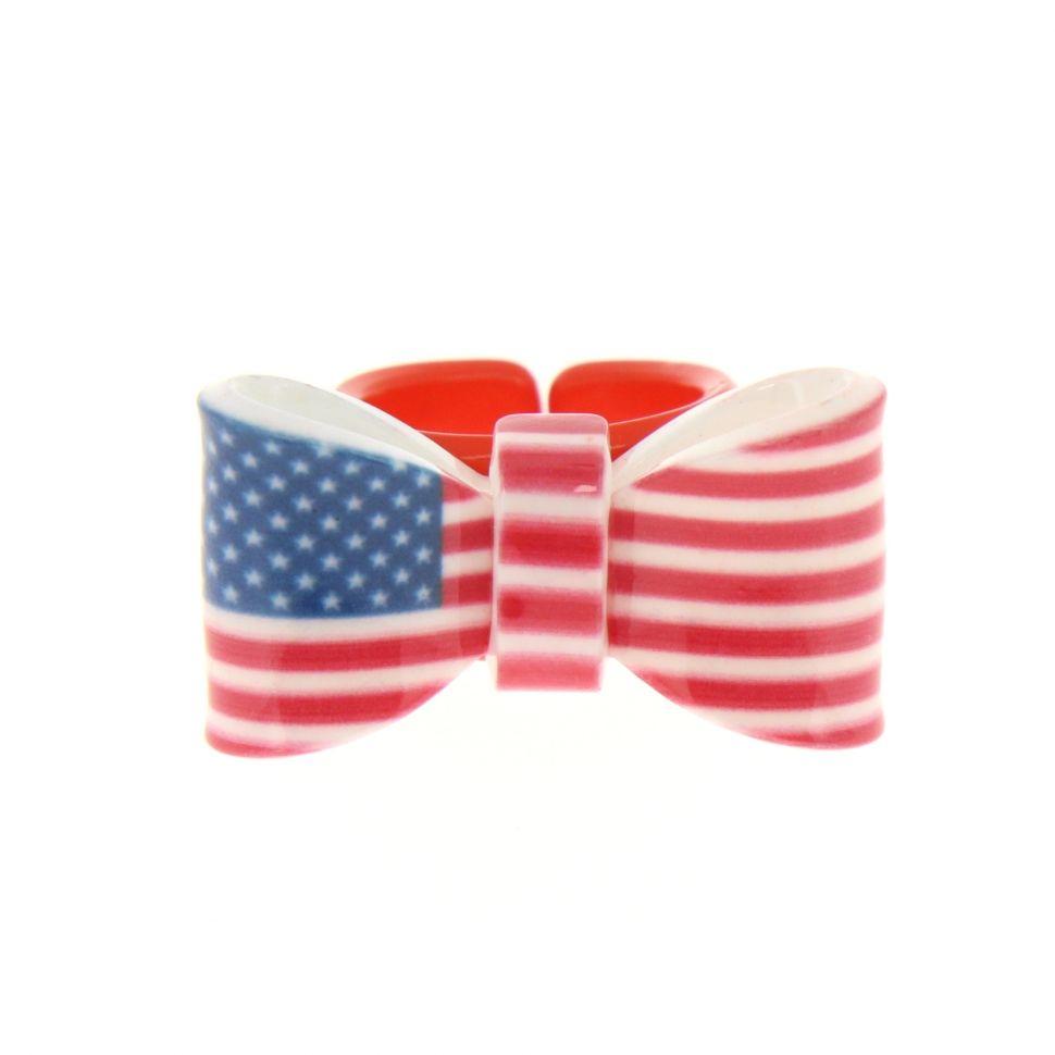 Bague acrylique Noeud Papillon à motifs Drapeau américain - 1291-37386