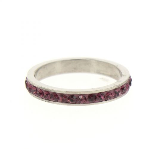 Ring Stainless Steem, Rhinestone Zirconia purple