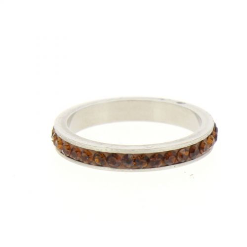 Ring Stainless Steem, Rhinestone Zirconia Brown