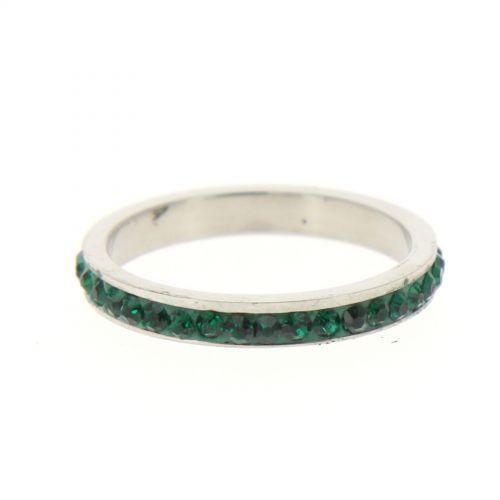 Anello in acciaio 6311, zirconia Strass verde scuro