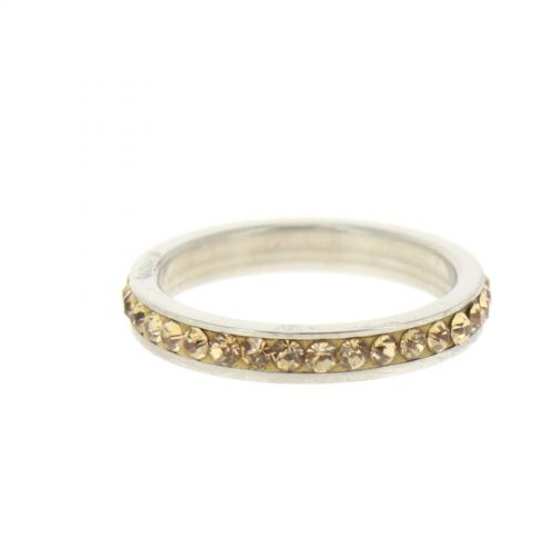 Ring Stainless Steem, Rhinestone Zirconia Gold