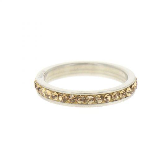 Ring Stainless Steem, Rhinestone Zirconia Gold