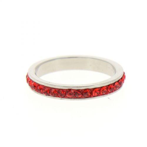 Anello in acciaio 6311, Strass Zirconia rosso