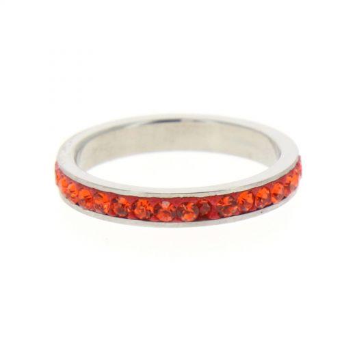 Steel Ring, Rhinestone Zirconia 6311Coral