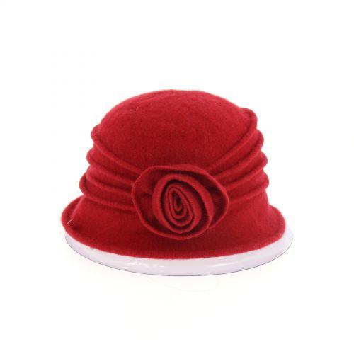 Chapeau Laine fleur BESSIE Rouge - 10224-37588