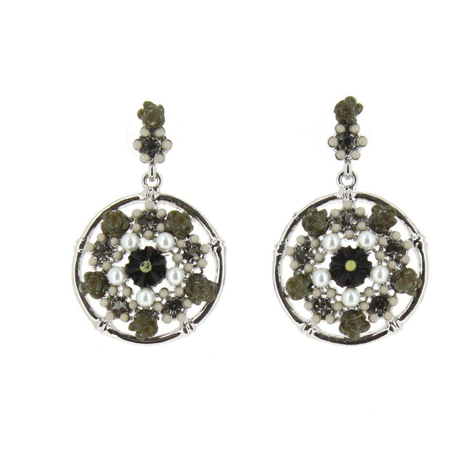 Boucles d'oreilles, fleurs à perles, noir-argent Noir-argent - 3223-37962