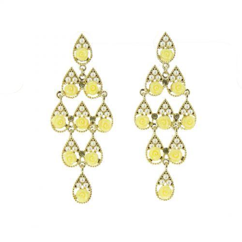 Boucles d'oreilles perle et fleurs Doré-Jaune