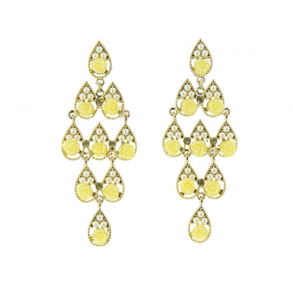 Boucles d'oreilles perle et fleurs jaune