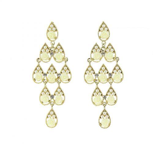 Orecchini orecchini di perle e fiori bianco-dorata