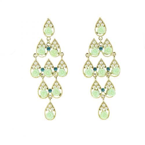 Boucles d'oreilles perle et fleurs Doré-Vert