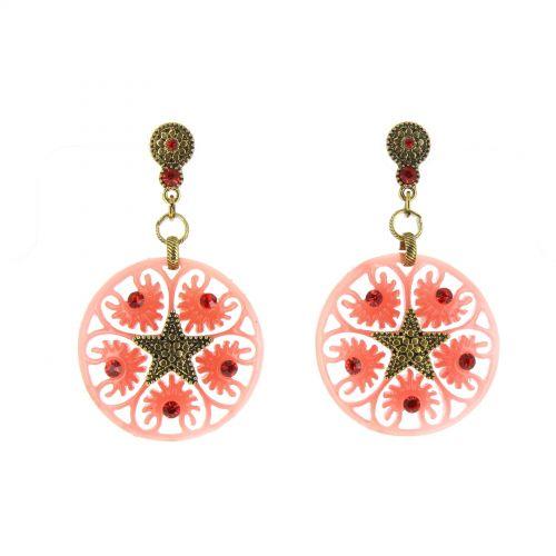 Boucles d'oreilles,étoile acrylique, 5638 CORAIL