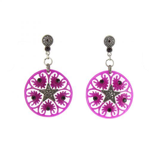 Boucles d'oreilles,étoile acrylique, 5638 VIOLET