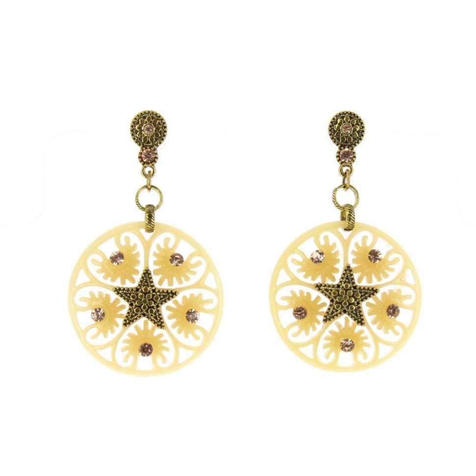 Boucles d'oreilles,étoile acrylique, 5638 BEIGE