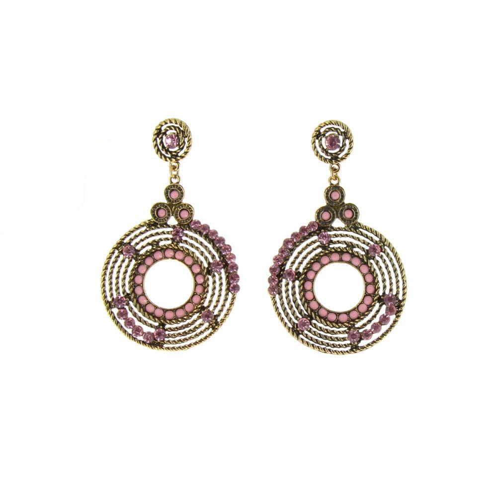Boucles d'oreilles Q-17623, ethnique perle Rose - 1595-38015