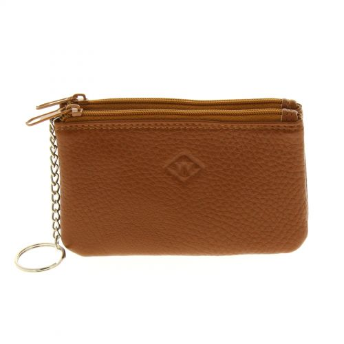 Porte monnaie double zip cuir Marron - 10340-38446