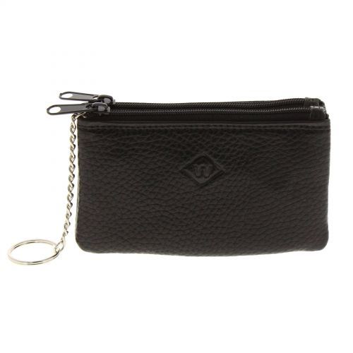 Porte-monnaie en cuir à double compartiment à zip, pour homme et femme