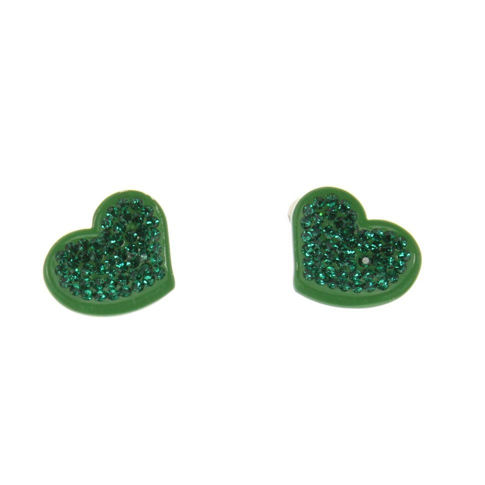 Boucles d'oreilles SZR-496B, coeur, strass vert