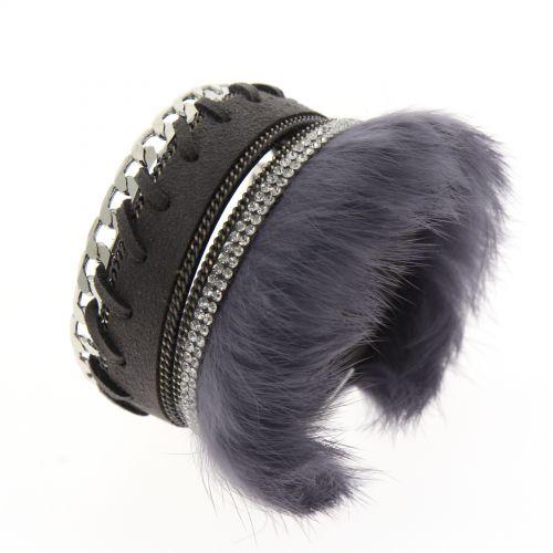 Bracelet manchette chaines et fourrure MAGDALENA