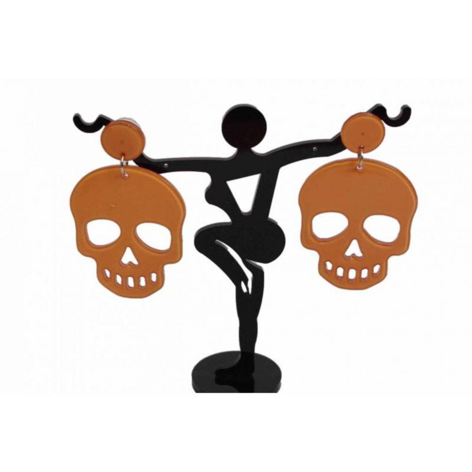 Boucles d'oreilles tête de mort HONORINE Orange - 1310-38676