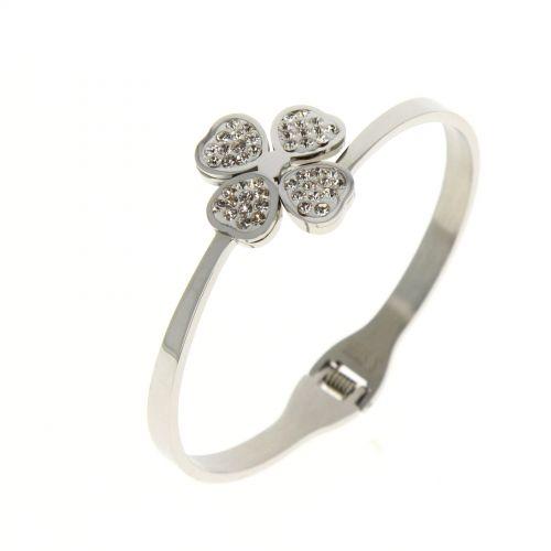 Bracelet en acier inoxydable Trèfle Daniela