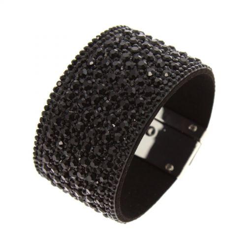 Bracelet manchette strass PRUDENTIUS Noir - 10438-39110