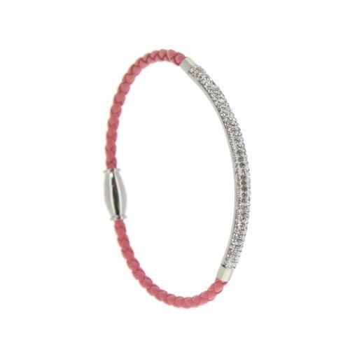 Bracelet femme similicuir et acier inoxydable à Strass NANNA