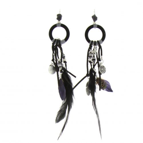 Long feather earrings, GWENOLA