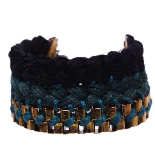 bracelet tressés en coton BT-022 Vert pin - 1804-4468
