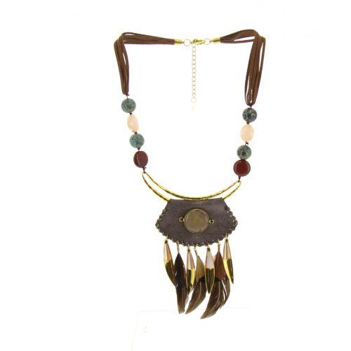 Etnici perle di collana pendente, piume emie