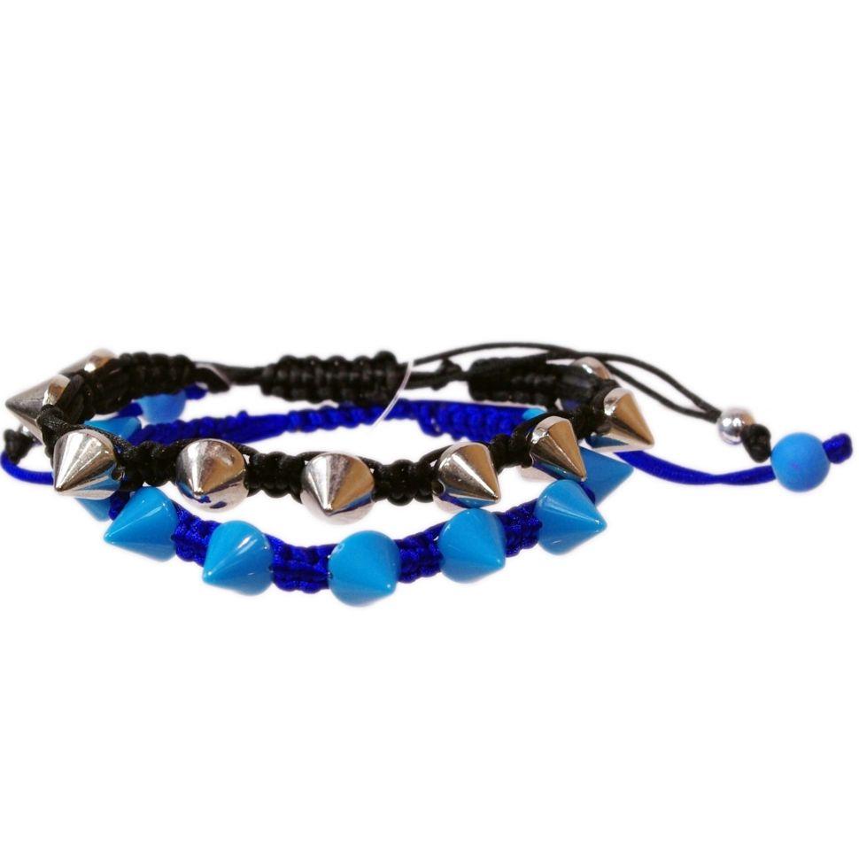 Bracelet shamballa à piques en métal et acrylique BR57-7 Bleu cyan - 1809-4497