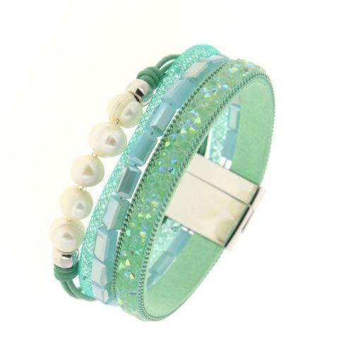 Bracelet manchette à perles, strass LYLWENN