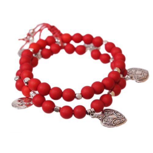 bracciale Cuore e perle di legno