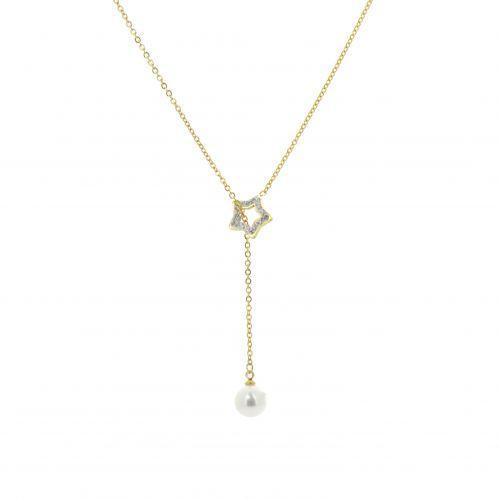 collana di perle in acciaio e Lorna trifoglio