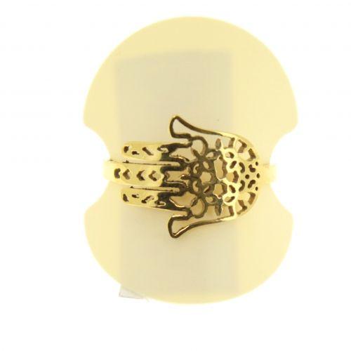 "Ring ""Mano di Fatima"", in acciaio inox SAORI"