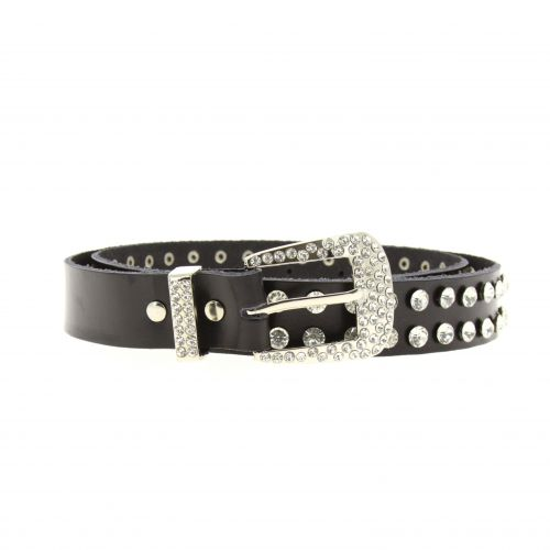 Rhinestone Genuine Leather Women Belt, PAOLINA