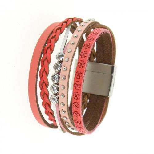 Bracelet cuff rhinestone leather MANOU