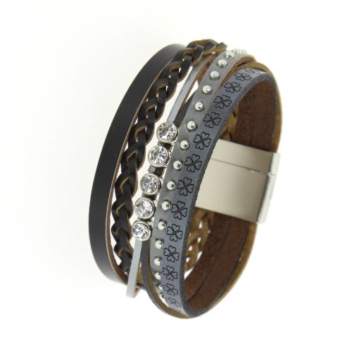 Bracelet cuff rhinestone leather MANOU