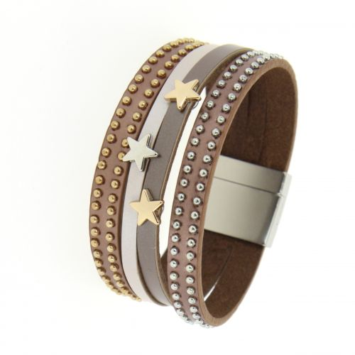 Bracelet cuff star leather MAHE