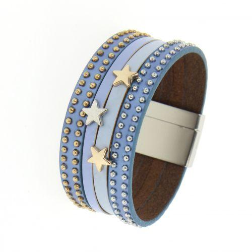 Bracelet manchette étoiles, en cuir MAHE