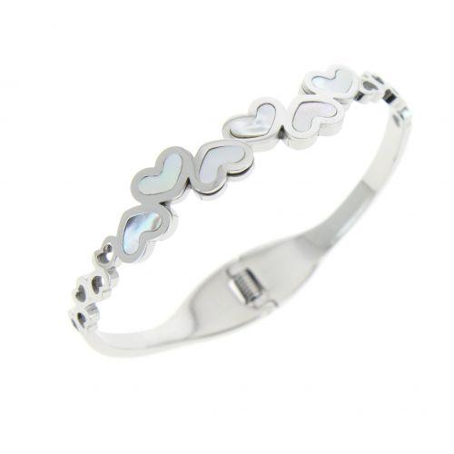 Bracelet, acier inoxydable à coeurs DEBORA
