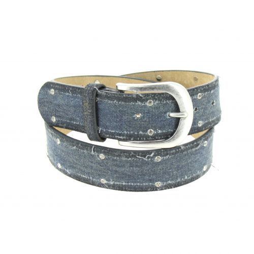 Denim leather Belt, MARINE