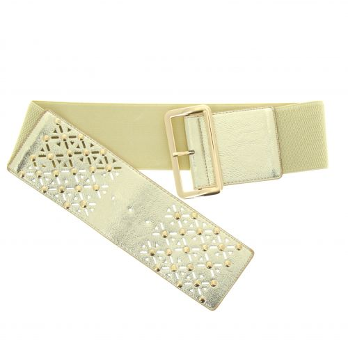 Studded Wide Waist Elasticated Woman Belt, ROSE