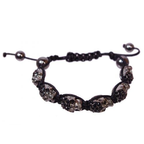 Bracelet Shamballa, 6 x Tête de mort,AOH-86 Noir-noir - 1862-4752