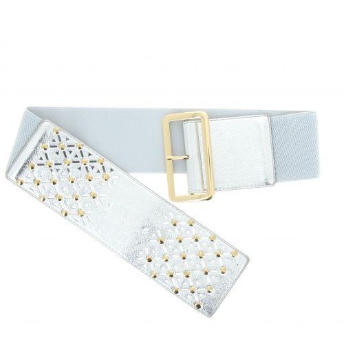 Studded Wide Waist Elasticated Woman Belt, ROSE
