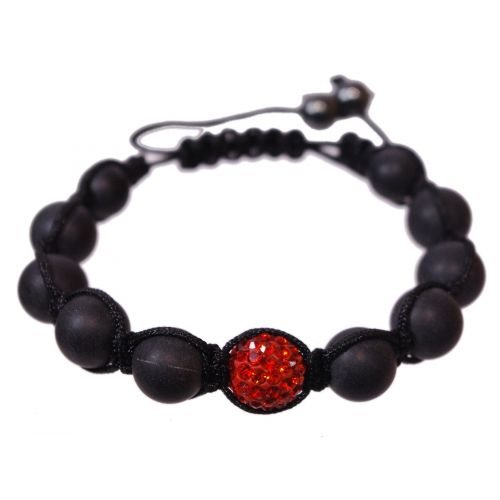 Bracelet shamballa 1 disco ball et perles noir, AOH-75 Rouge - 1864-4758