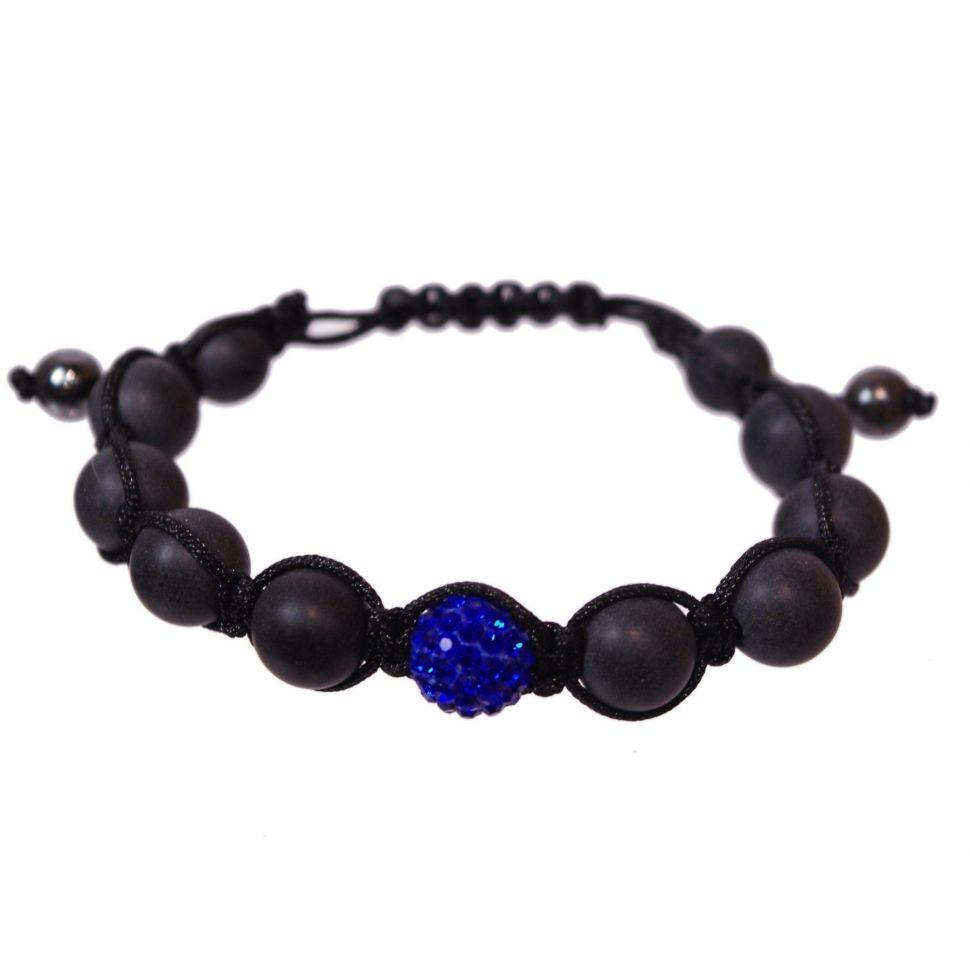 Bracelet shamballa 1 disco ball et perles noir, AOH-75 Bleu - 1864-4759