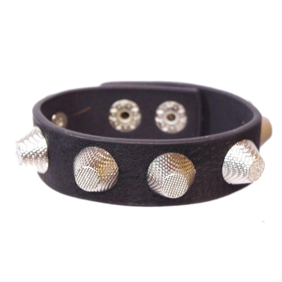 bracelet similicuir cloutés, BR42-17 Noir - 1872-4798