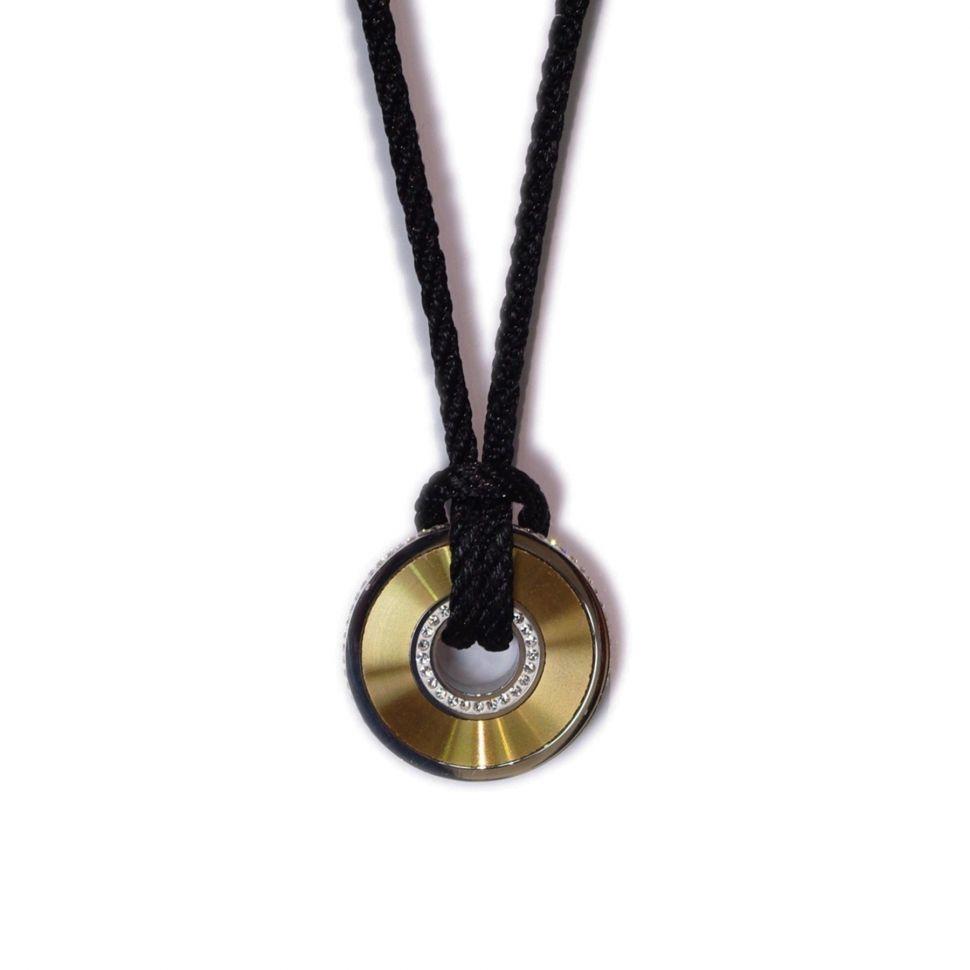 collier corde avec disque en acier inoxydable 4412-1 Doré - 1876-4805